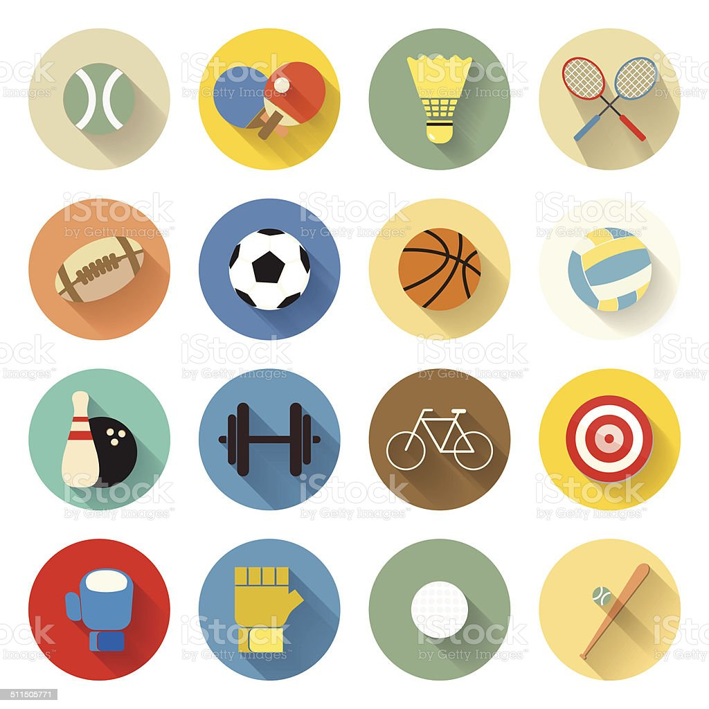 sports icons set flat design with long shadow vector art illustration
