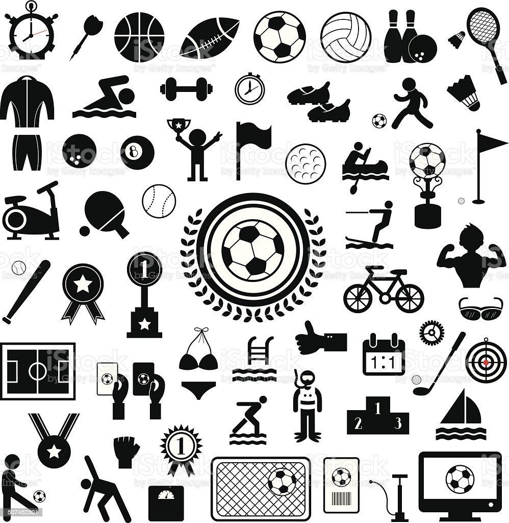 Sports icons set vector art illustration