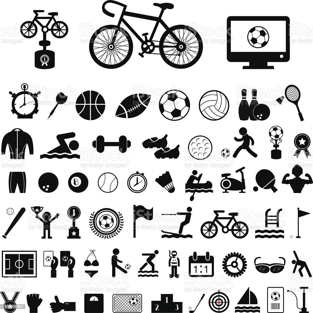 Sports icons set vector art illustration