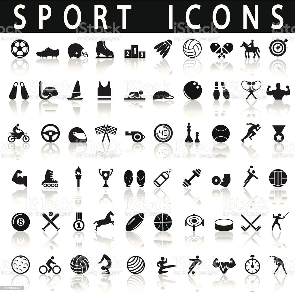 sports icons vector art illustration