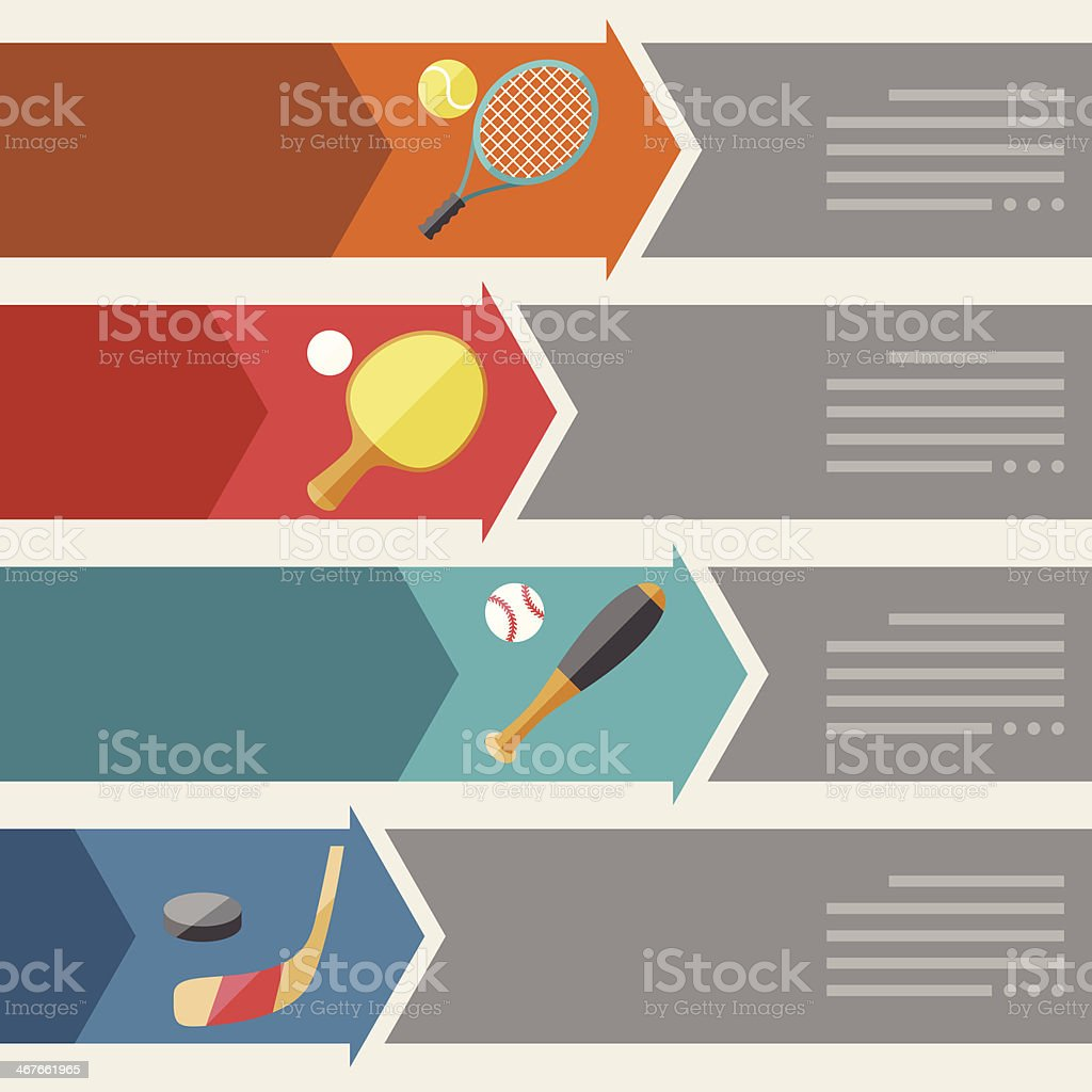 Sports infographics optional banners. vector art illustration