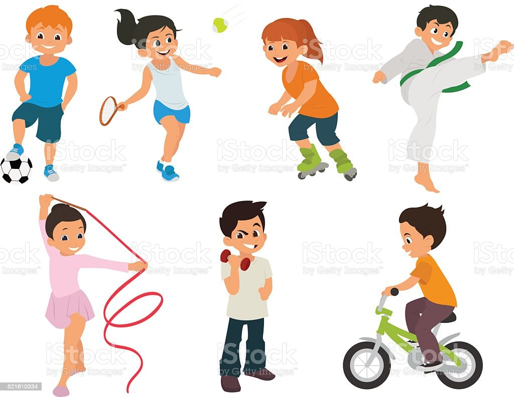sports kids are actively involved in sports. vector art illustration