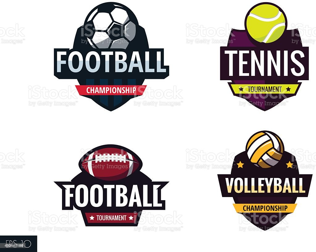 sports labels vector art illustration