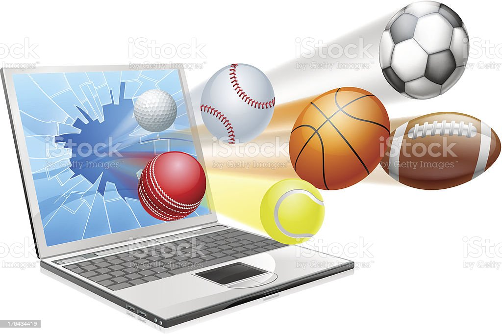 Sports laptop app concept royalty-free stock vector art