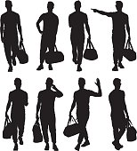 Sports man holding gym bag and in various action