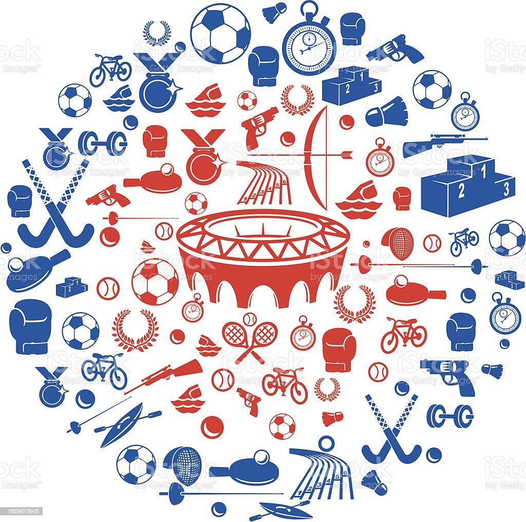 Sports Medal Icons vector art illustration