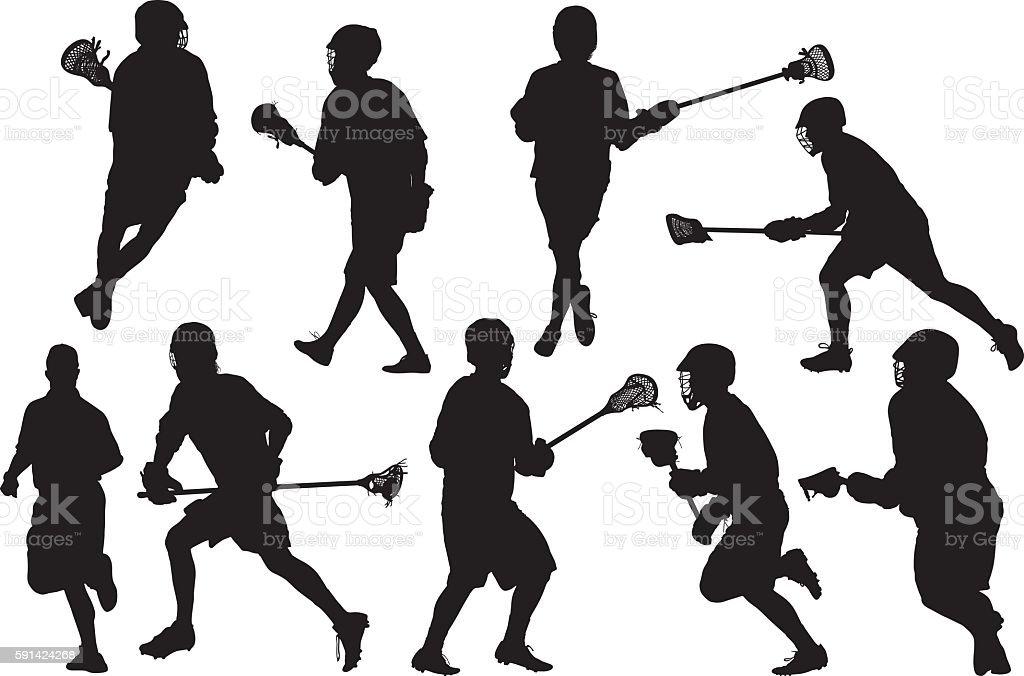 Sports men doing lacrosse vector art illustration