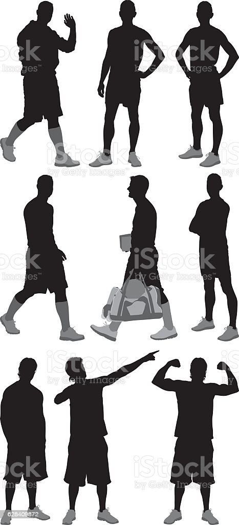 Sports men in various actions vector art illustration