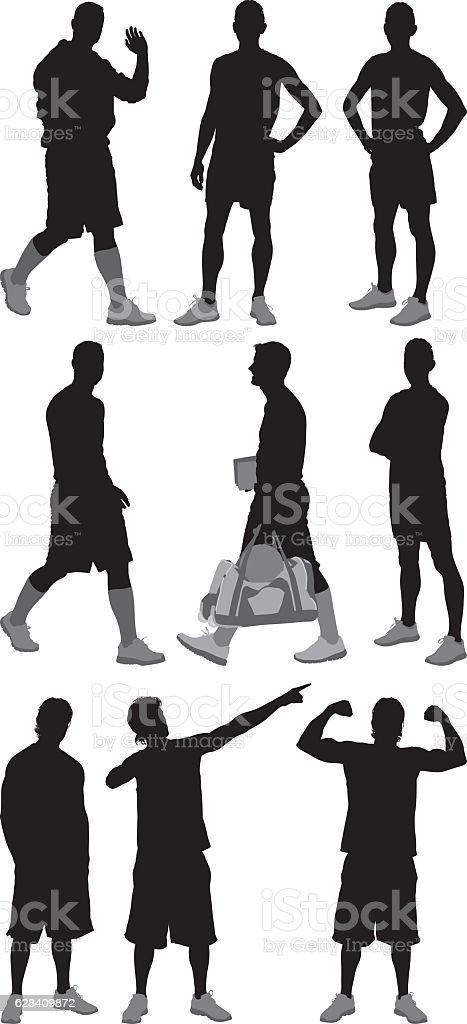 Sports men in various actions vector art illustration