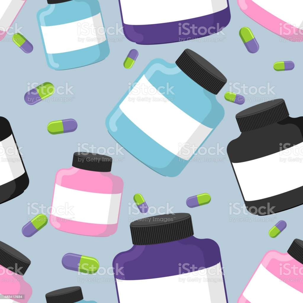 Sports nutrition container seamless pattern. Protein and pills. vector art illustration