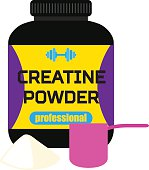 Sports nutrition, creatine powder, professional supplement, measuring cup