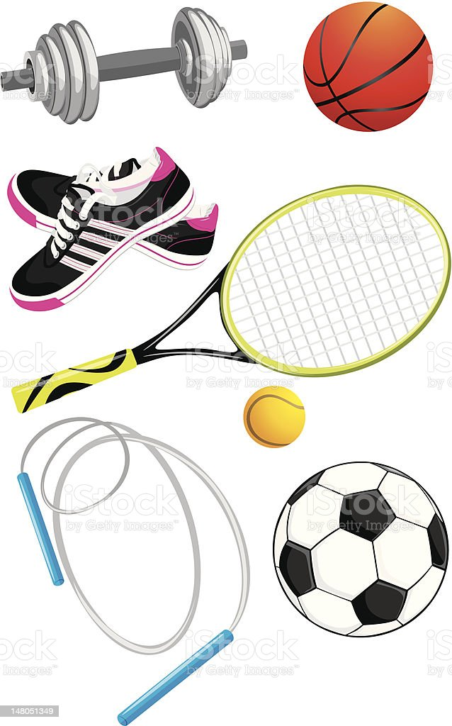 Sports objects isolated on the white royalty-free stock vector art