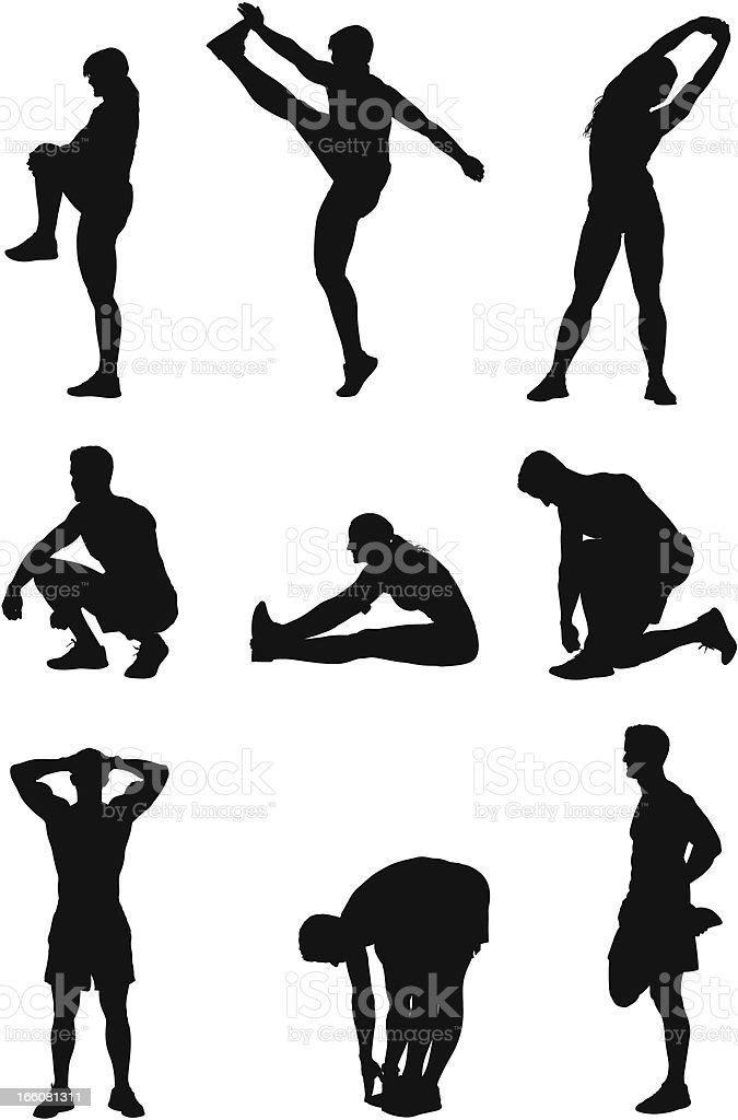 Sports people exercising royalty-free stock vector art