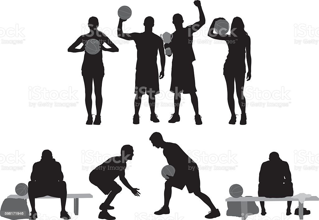 Sports people in various actions vector art illustration