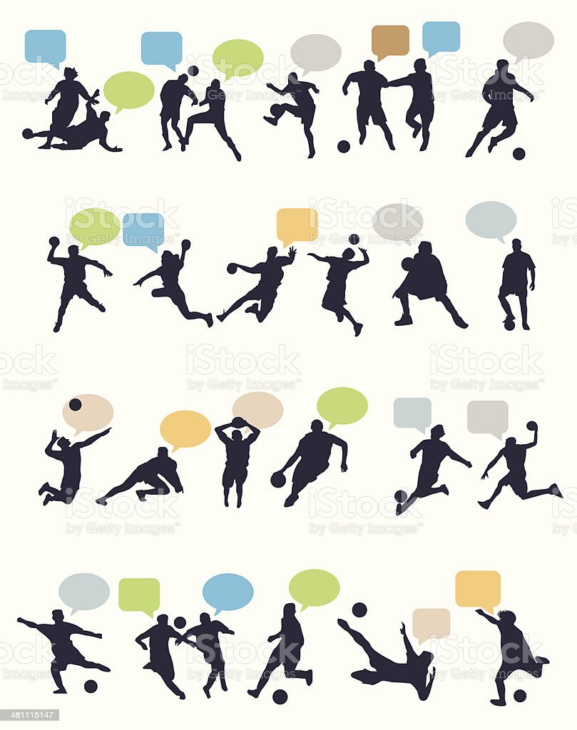 sports players chat vector art illustration
