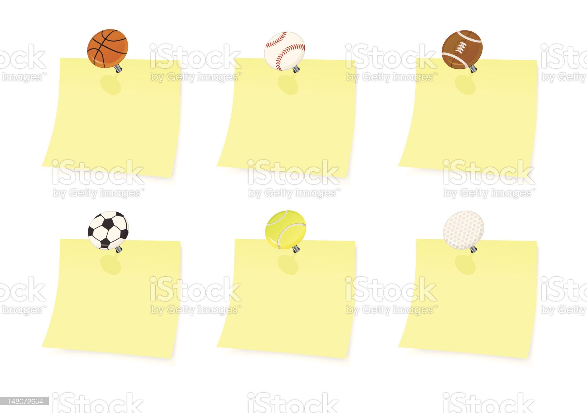Sports Push Pin Thumbtacks with Paper Note royalty-free stock vector art