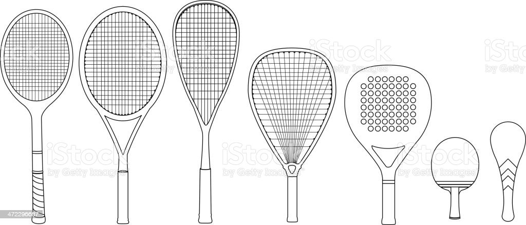 Sports racket string standing vertical view vector art illustration