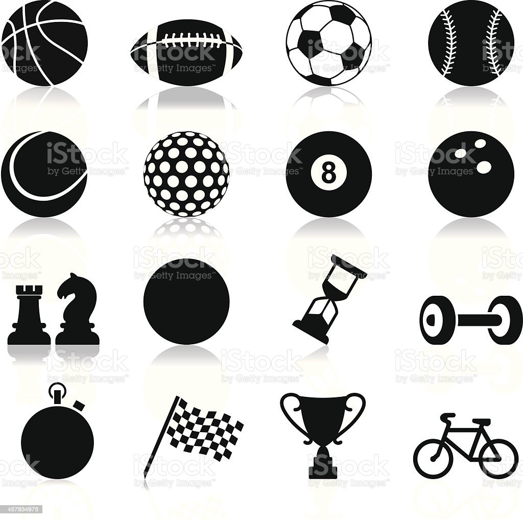 Sports related set of twelve icons vector art illustration
