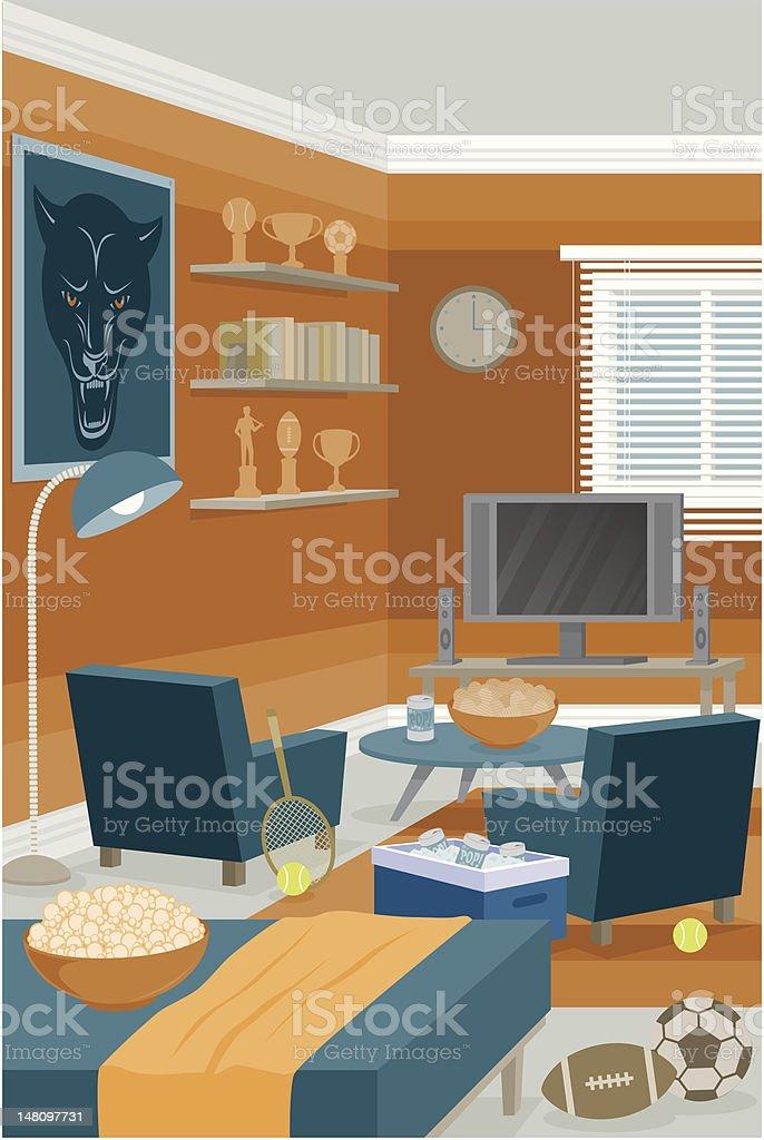 Sports Room vector art illustration