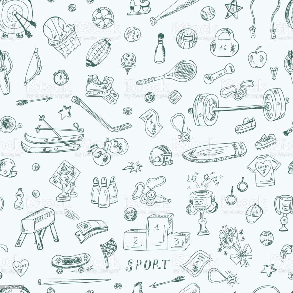 Sports. Seamless pattern of sports equipment. Hand Drawn Doodles illustration. vector art illustration
