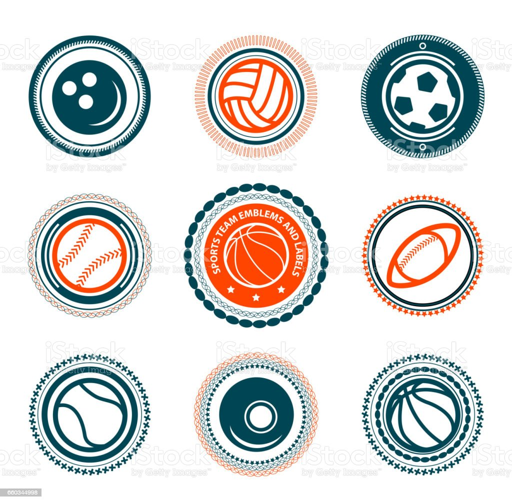 Sports set of premium stamps vector art illustration
