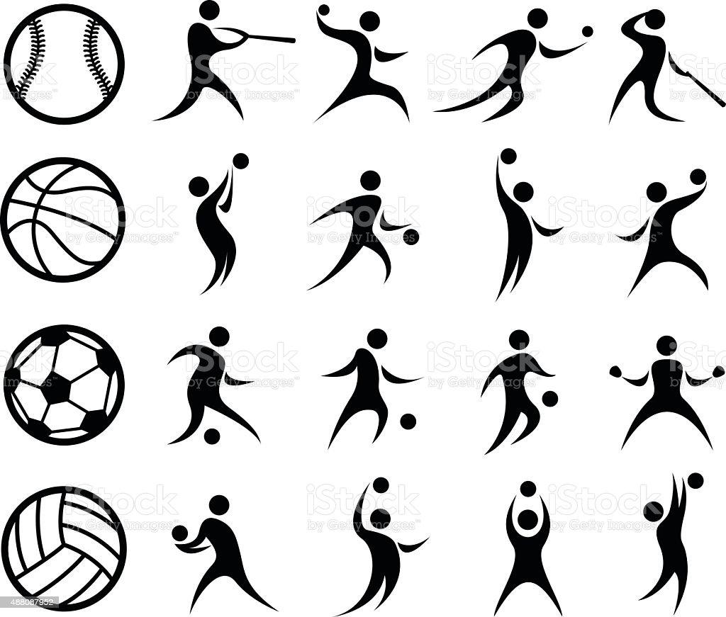 Sports Silhouette, Basketball, Baseball, Soccer, Volleyball vector art illustration