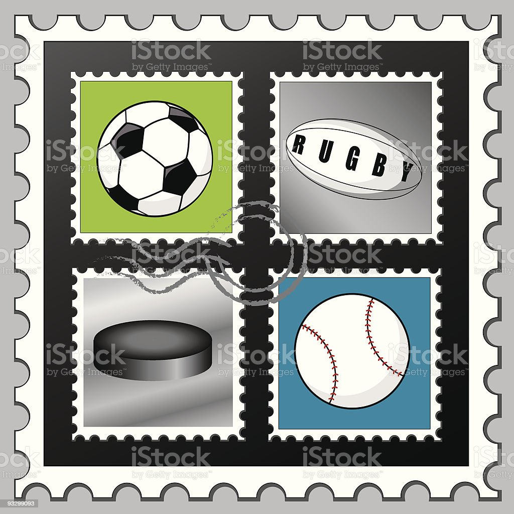 Sports Stamps royalty-free stock vector art