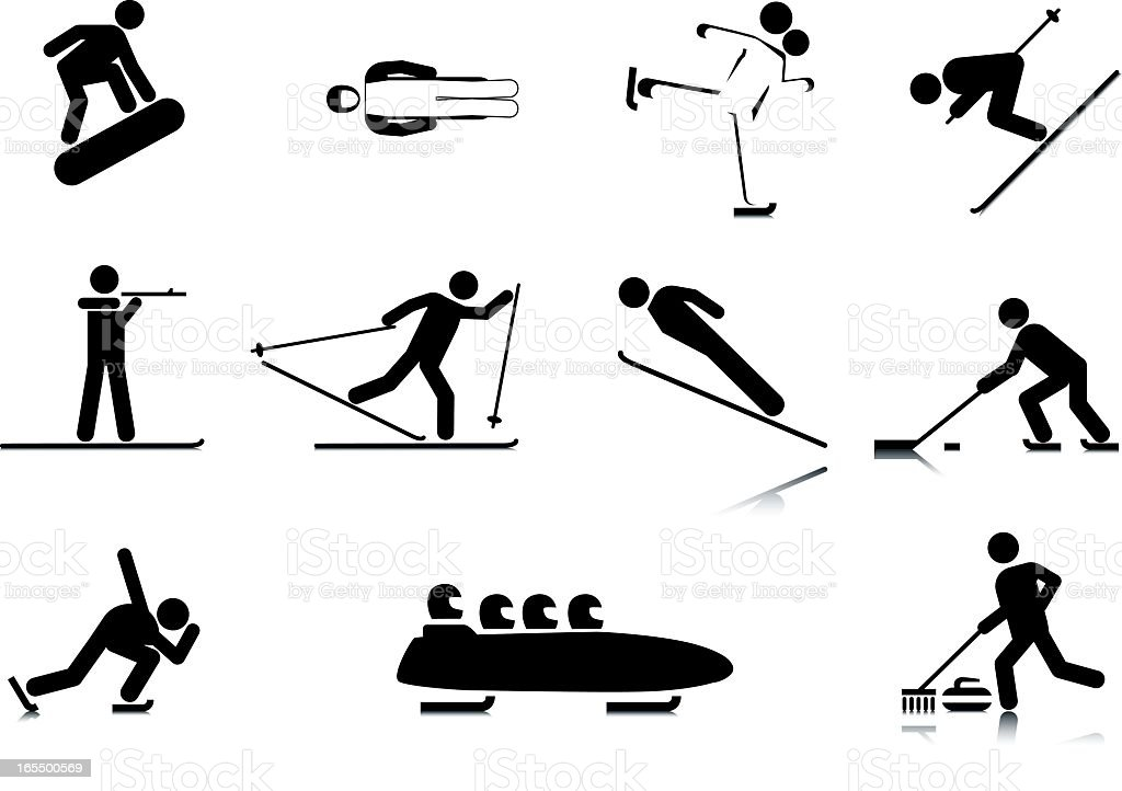Sports Stick Figures: Winter vector art illustration