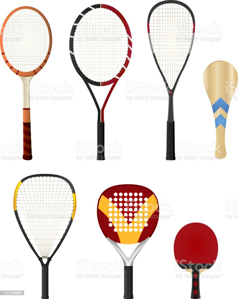 Sports string Rackets standing vertical vector art illustration