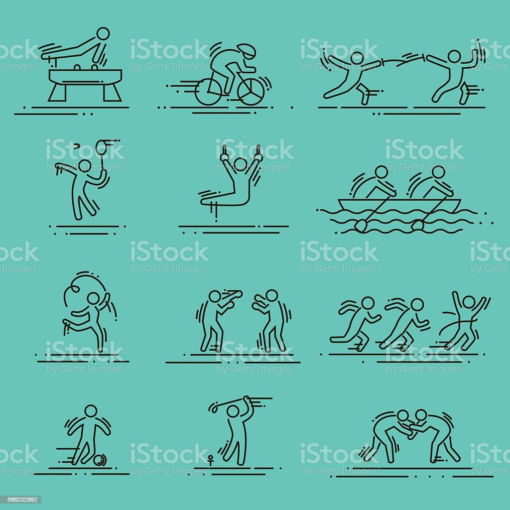 sports thin line vector icons set pictograms vector art illustration