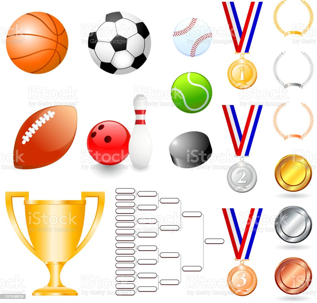 Sports tournament illustrations set royalty-free stock vector art