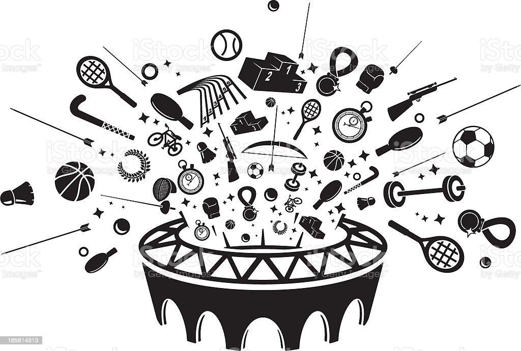 Sports Venue Icon set vector art illustration