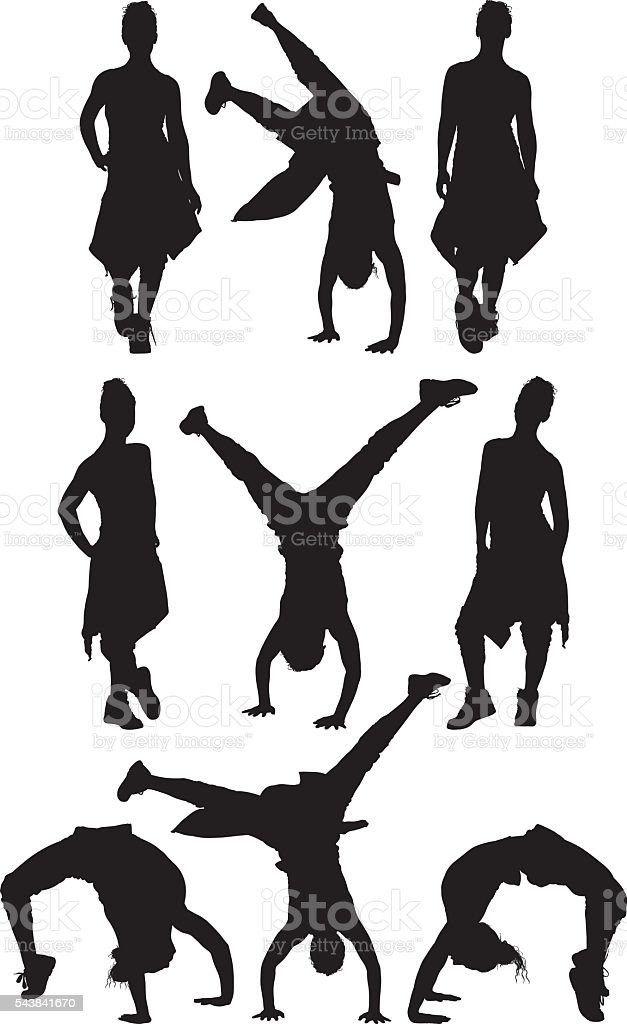 Sports woman in various actions vector art illustration