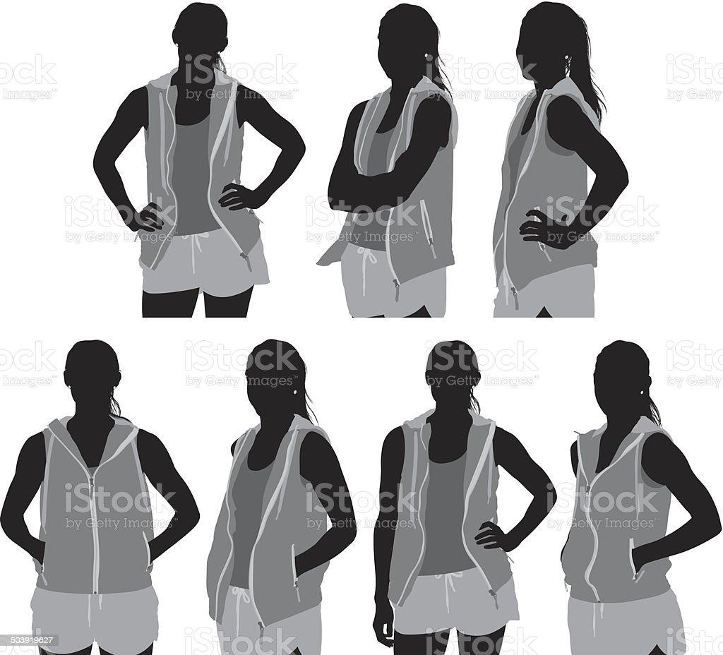 Sports woman standing vector art illustration