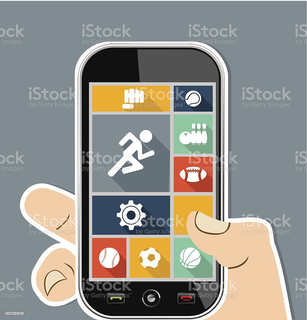 Sports workout UI concept human hand holds a smart phone. royalty-free stock vector art