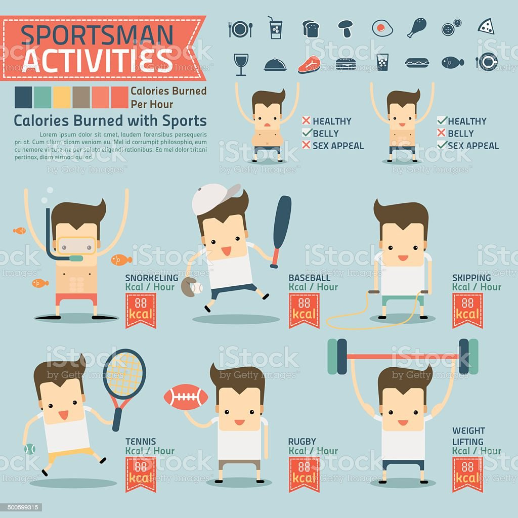 sportsman activities and calories burned infographics with food vector art illustration