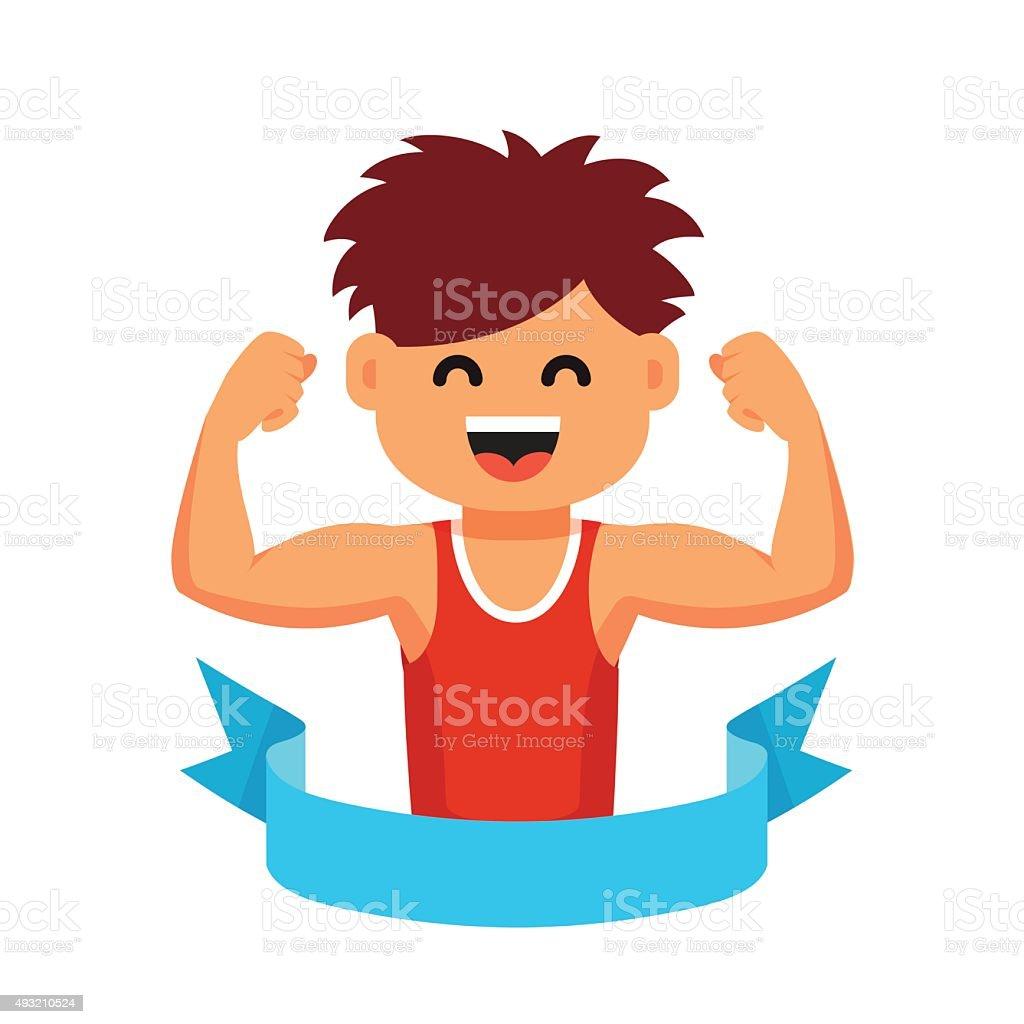 Sportsman children healthy lifestyle concept vector art illustration