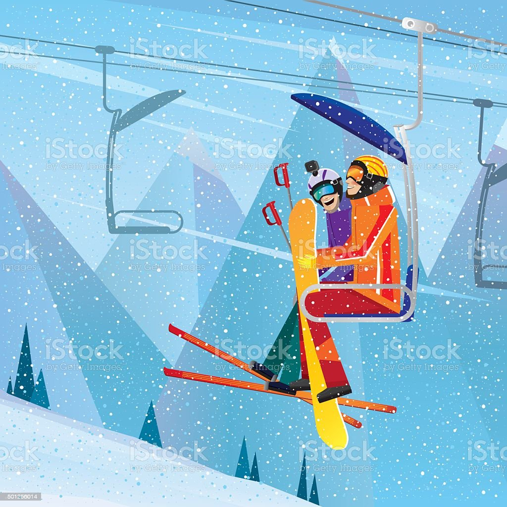 Sportsmen climb the mountain on aerial lift vector art illustration