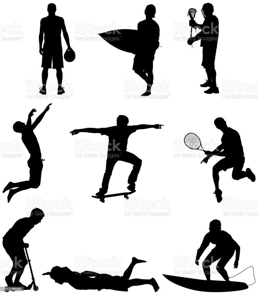 Sportsmen in action royalty-free stock vector art