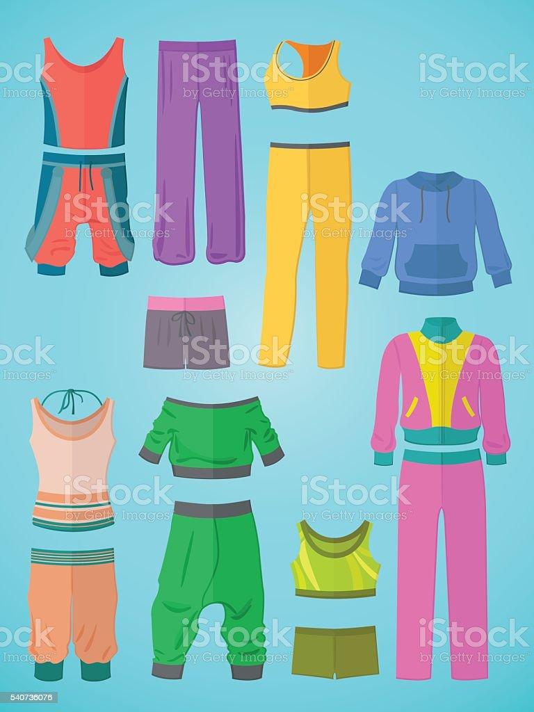 Sportswear in flat design vector art illustration