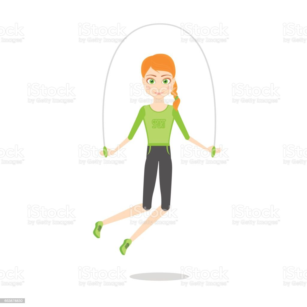 Sportswoman character. Cartoon vector flat illustration. Girl leads a healthy sport lifestyle. Red slender girl in sports clothes is jumping rope vector art illustration