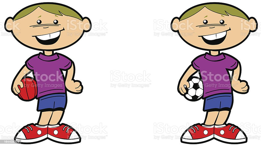 Sporty boy holding soccer ball and basketball royalty-free stock vector art