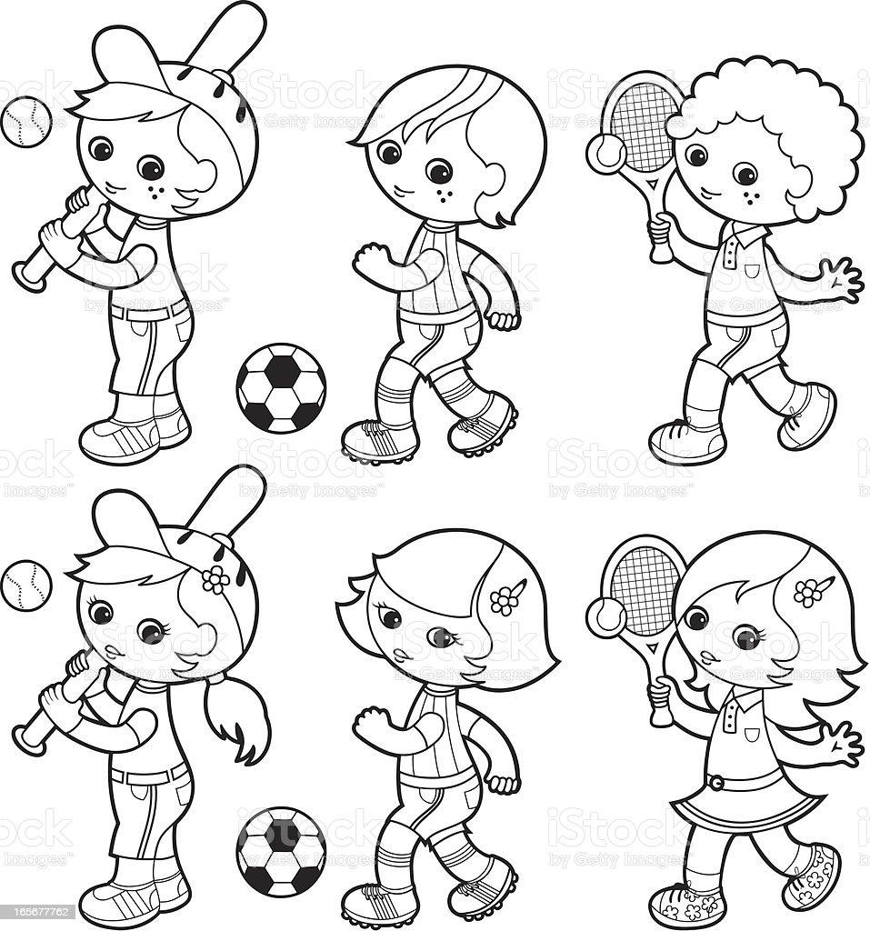 Sporty boys coloring set vector art illustration