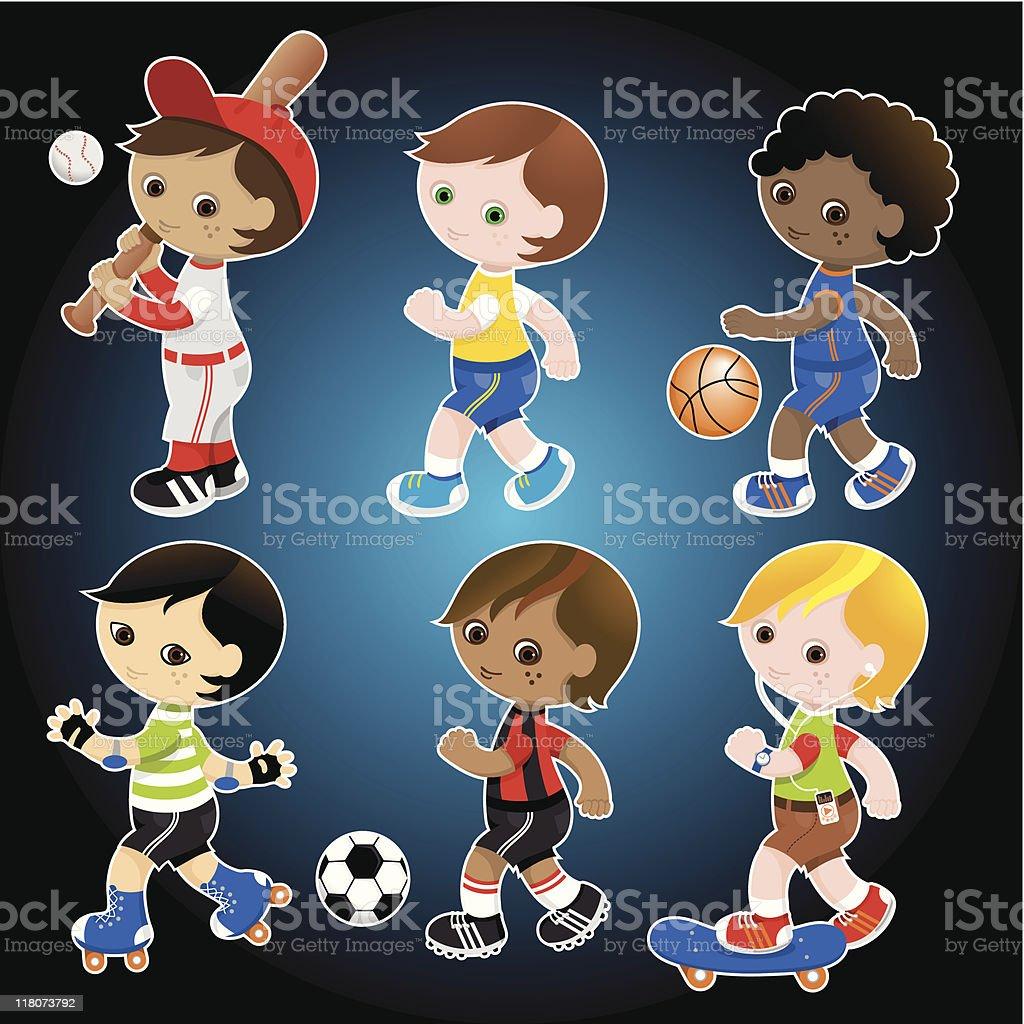 Sporty cute boys set royalty-free stock vector art