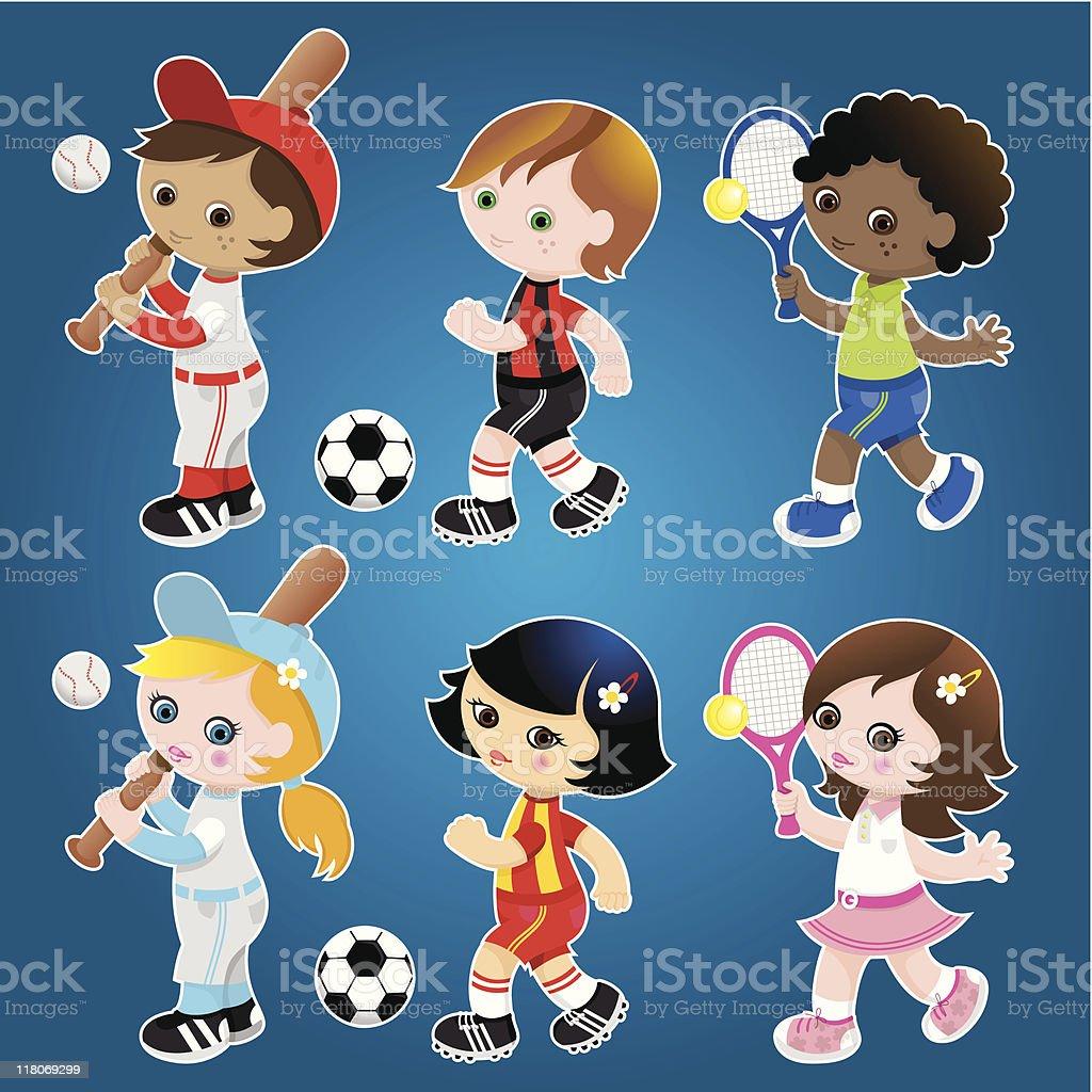Sporty cute kids set royalty-free stock vector art