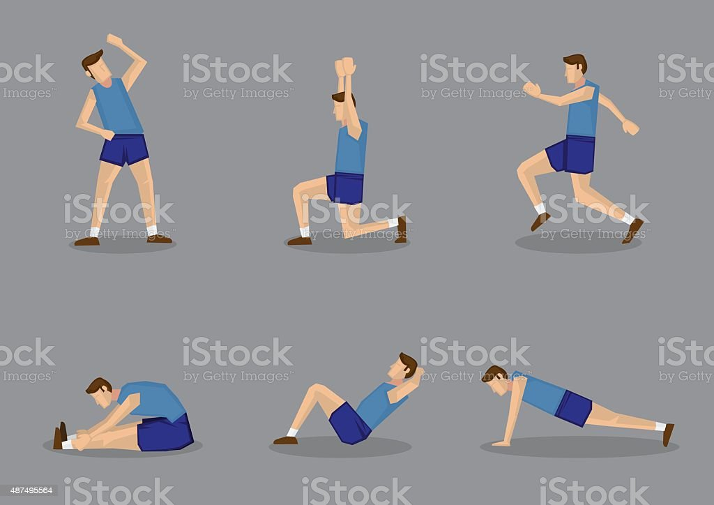 Sporty Man Doing Stretching and Warm Up Exercises vector art illustration