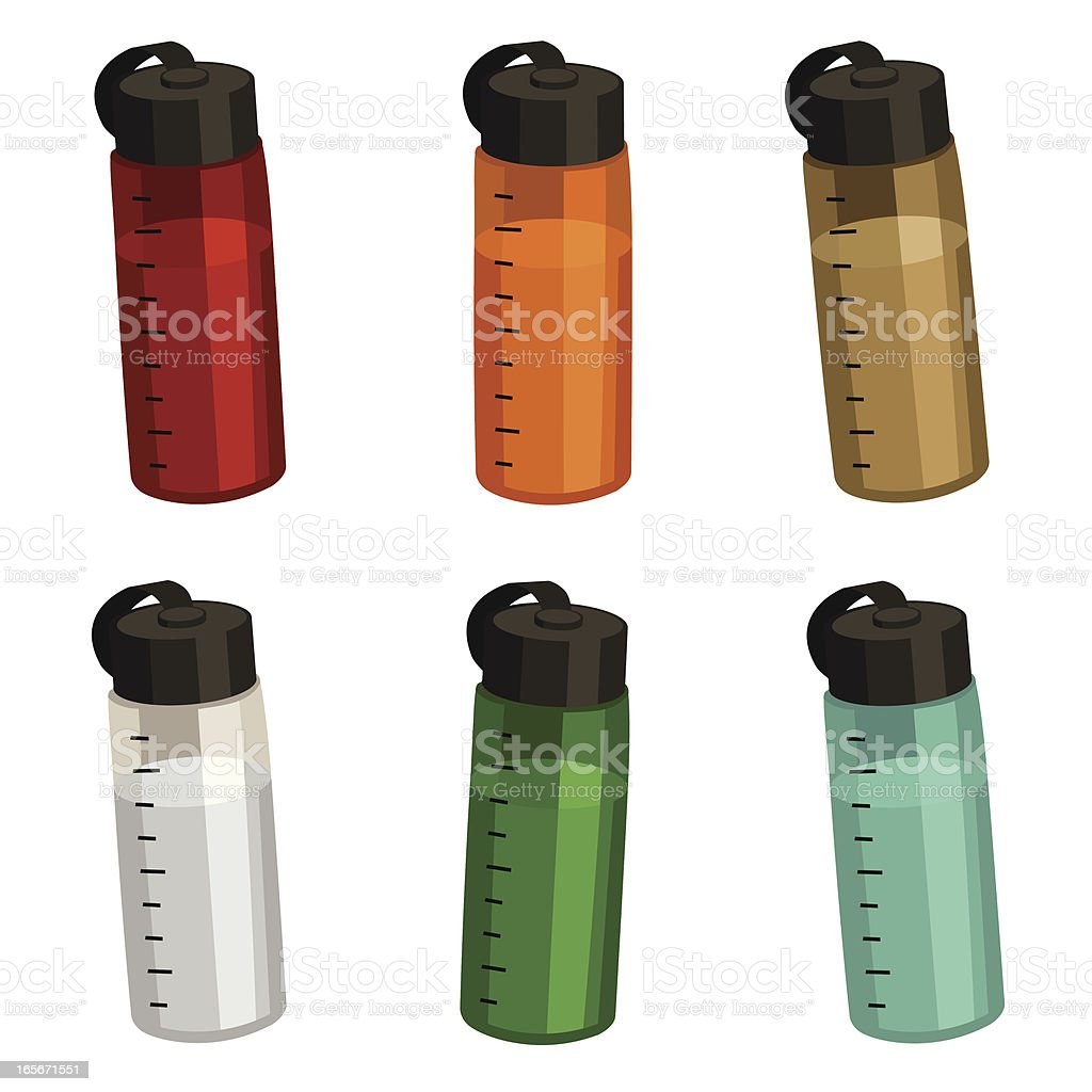 Sporty Water Bottles vector art illustration