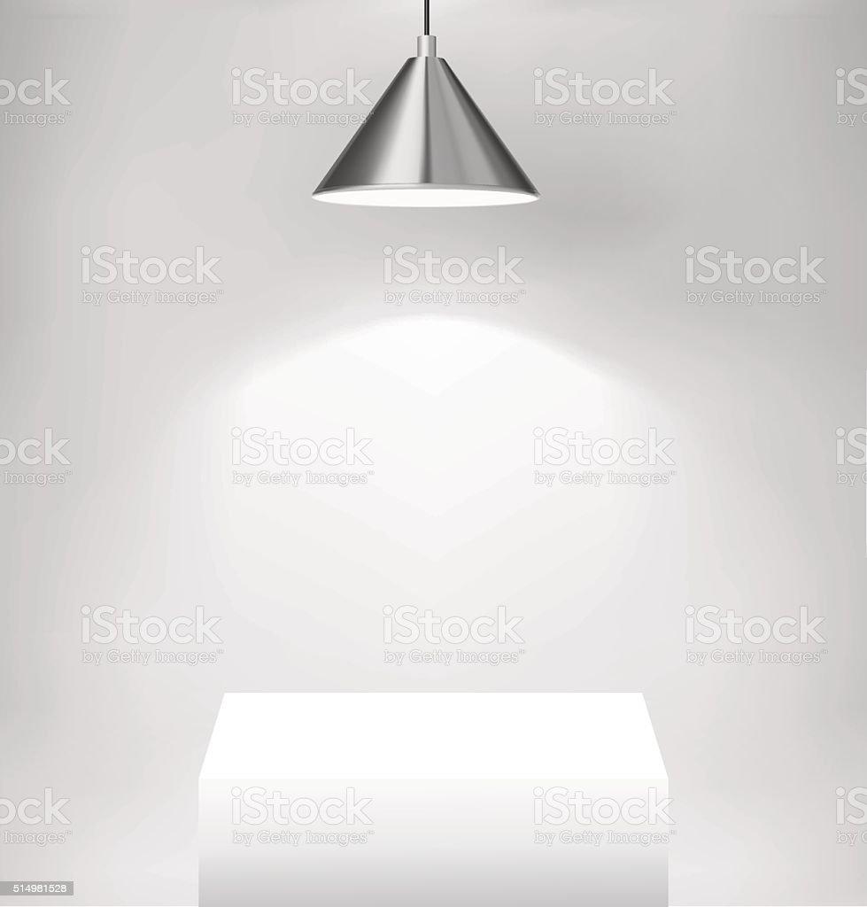 Spot light illuminated scene. vector art illustration