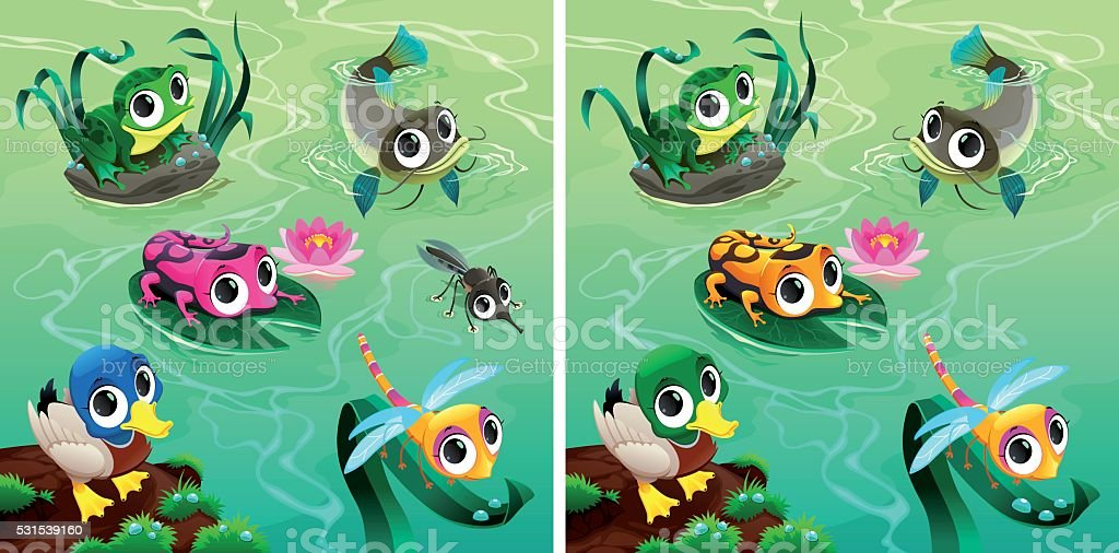 Spot the differences vector art illustration