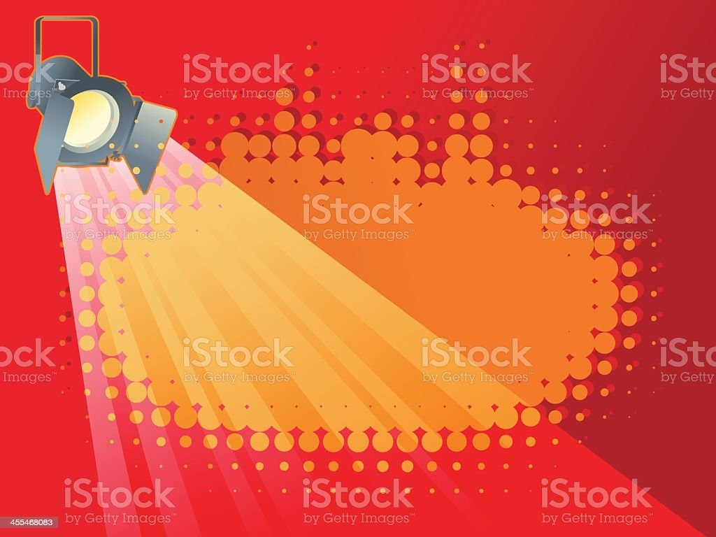 Spotlight cartoon shining down on red royalty-free stock vector art